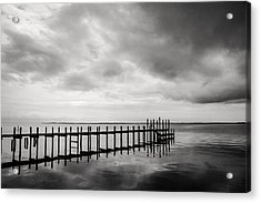 Duck Pier In Black And White Acrylic Print