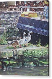 Acrylic Print featuring the painting Ducks On Dockside by Martin Davey
