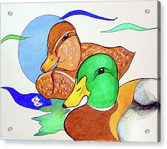 Ducks2017 Acrylic Print by Loretta Nash