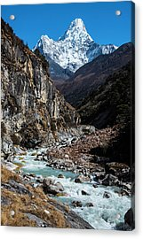 Acrylic Print featuring the photograph Dudh Kosi River By Ama Dablam by Owen Weber