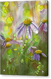Acrylic Print featuring the painting Due Today Z - Dew To Daisy by Lynn Babineau