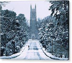 Duke Snowy Chapel Drive Acrylic Print by Duke University