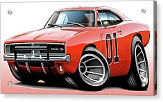 Dukes Of Hazzard General Lee Acrylic Print by Maddmax