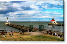 Duluth Canal Park Lighthouses Acrylic Print by Bonnie Follett