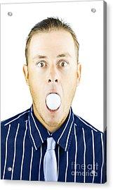 Dumbfounded Man Silenced By A Golf Ball Acrylic Print
