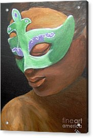 Acrylic Print featuring the painting Dunbar's Mask by Saundra Johnson