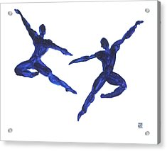 Duo Leap Blue Acrylic Print by Shungaboy X