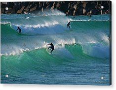 Acrylic Print featuring the photograph Duranbah Surfers by Odille Esmonde-Morgan