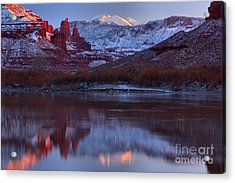 Acrylic Print featuring the photograph Dusk At Fisher Towers by Adam Jewell