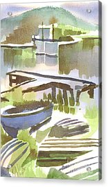 Acrylic Print featuring the painting Dusk At The Boat Dock by Kip DeVore