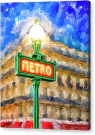 Acrylic Print featuring the mixed media Dusk Done Parisian Style by Mark Tisdale