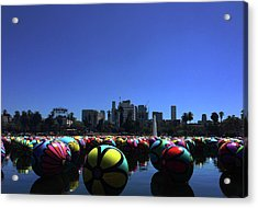 Acrylic Print featuring the photograph Dusk Finds The Spheres Of Macarthur Park by Lorraine Devon Wilke