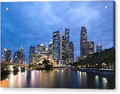 Acrylic Print featuring the photograph Dusk In The City by Ng Hock How