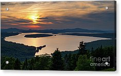 Acrylic Print featuring the photograph Dusk, Mooselookmeguntic Lake, Rangeley, Maine -63362-63364 by John Bald