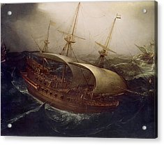 Dutch Battleship In A Storm Acrylic Print by Hendrick Cornelisz Vroom