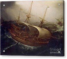Dutch Battleship In A Storm Acrylic Print by Hendrick Cornelisz Vroom