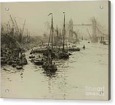 Dutch Eel Boats In The Pool Of London Acrylic Print by MotionAge Designs