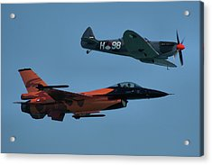 Acrylic Print featuring the photograph Dutch F-16 And Spitfire by Tim Beach