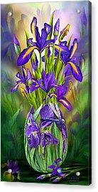 Dutch Iris In Iris Vase Acrylic Print by Carol Cavalaris