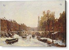 Dutch Town In Winter Acrylic Print