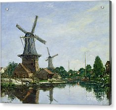Dutch Windmills Acrylic Print by Eugene Louis Boudin