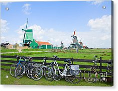dutch windmills with bikes in Zaanse Schans Acrylic Print