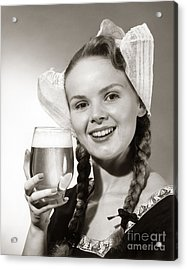 Dutch Woman With Beer, C.1950s Acrylic Print by Coleman/ClassicStock