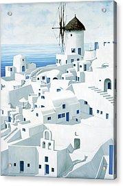 Dwellings, Santorini - Prints From Original Oil Painting Acrylic Print