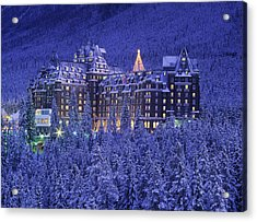 D.wiggett Banff Springs Hotel In Winter Acrylic Print