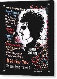 Dylan Lyric Portrait Acrylic Print by Gregory McLaughlin