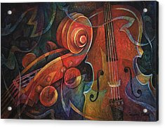 Dynamic Duo - Cello And Scroll Acrylic Print by Susanne Clark