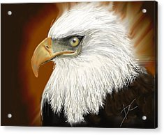 Acrylic Print featuring the digital art Eagle American by Darren Cannell