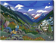 Acrylic Print featuring the painting Eagle Boys Learn To Sing by Chholing Taha