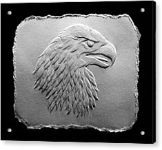 Acrylic Print featuring the relief Eagle Head Relief Drawing by Suhas Tavkar