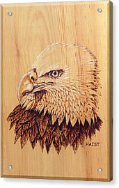 Acrylic Print featuring the pyrography Eagle Img 2 by Ron Haist