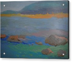 Acrylic Print featuring the painting Eagle Lake In Blue by Francine Frank