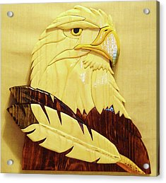 Eaglehead With Two Feathers Acrylic Print by Russell Ellingsworth