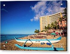 Early Morning At Outrigger Beach,hawaii Acrylic Print