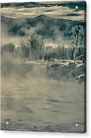 Acrylic Print featuring the photograph Early Morning Frost On The River by Don Schwartz
