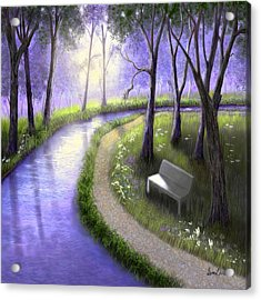 Acrylic Print featuring the painting Early Morning In The Park by Sena Wilson