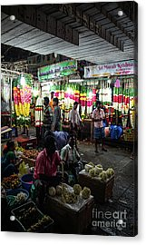 Acrylic Print featuring the photograph Early Morning Koyambedu Flower Market India by Mike Reid
