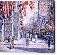 Acrylic Print featuring the painting Early Morning On The Avenue In May 1917 - 1917 by Frederick Childe Hassam