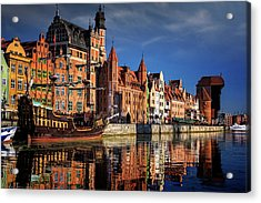 Early Morning On The Motlawa River In Gdansk Poland Acrylic Print