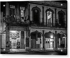 Early Morning Paseo Del Prado Havana Cuba Bw Acrylic Print