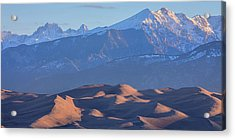 Early Morning Sand Dunes And Snow Covered Peaks Acrylic Print by James BO Insogna