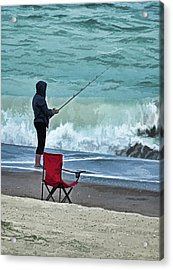 Early Morning Surf Fishing Acrylic Print by Sandi OReilly