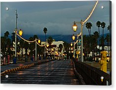 Early Morning Walk On Stearn's Pier Acrylic Print by Connie Cooper-Edwards