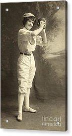 Early Portrait Of A Woman Baseball Player Acrylic Print