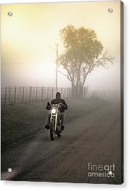 Early Rider In Fog Acrylic Print by Robert Frederick