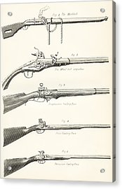 Early Types Of Firearms. 1. The Acrylic Print by Vintage Design Pics